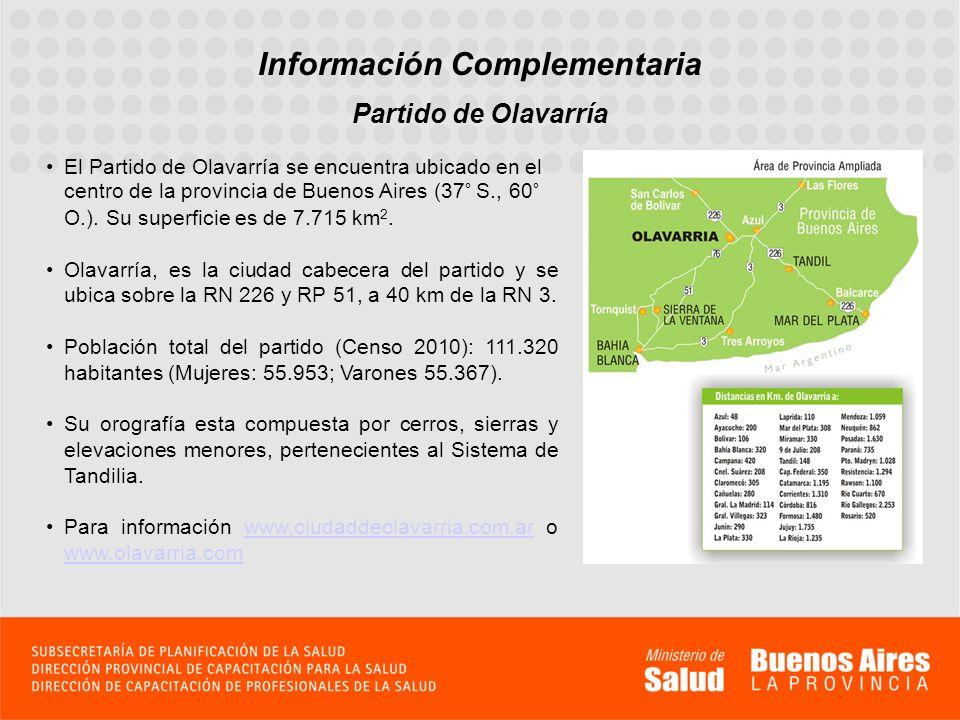 Información Complementaria Partido de Olavarría El Partido de Olavarría se encuentra ubicado en el centro de la provincia de Buenos Aires (37° S., 60°