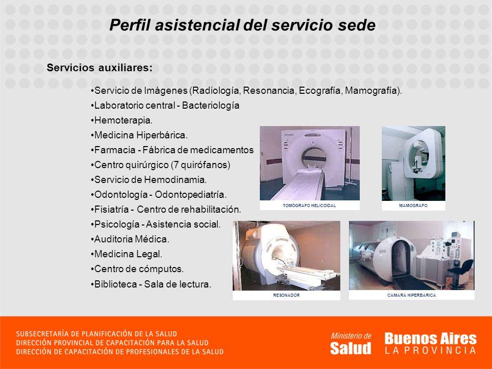 Perfil asistencial del servicio sede Servicios auxiliares: Servicio de Imágenes (Radiología, Resonancia, Ecografía, Mamografía). Laboratorio central -