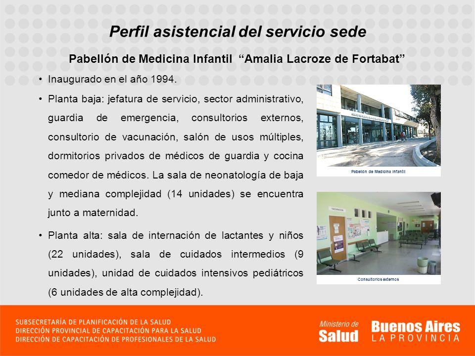 Perfil asistencial del servicio sede Pabellón de Medicina Infantil Amalia Lacroze de Fortabat Inaugurado en el año 1994. Planta baja: jefatura de serv