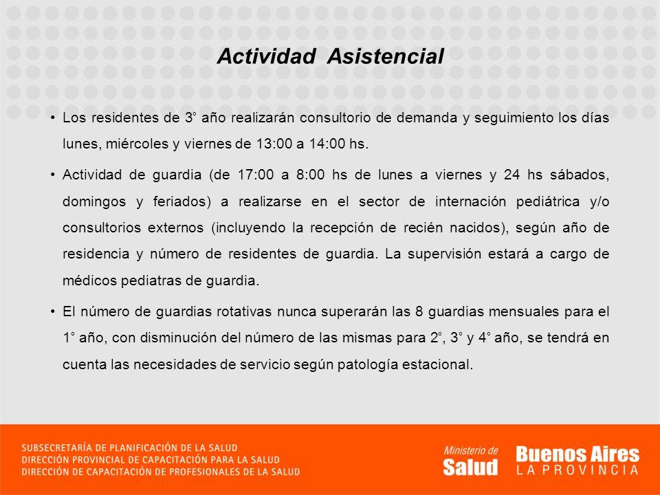 Actividad Asistencial Los residentes de 3° año realizarán consultorio de demanda y seguimiento los días lunes, miércoles y viernes de 13:00 a 14:00 hs
