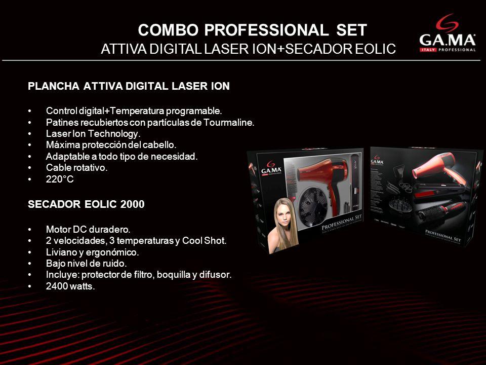 COMBO PROFESSIONAL SET ATTIVA DIGITAL LASER ION+SECADOR EOLIC PLANCHA ATTIVA DIGITAL LASER ION Control digital+Temperatura programable. Patines recubi