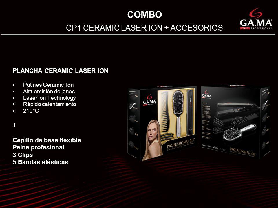 COMBO CP1 CERAMIC LASER ION + ACCESORIOS PLANCHA CERAMIC LASER ION Patines Ceramic Ion Alta emisión de iones Laser Ion Technology Rápido calentamiento