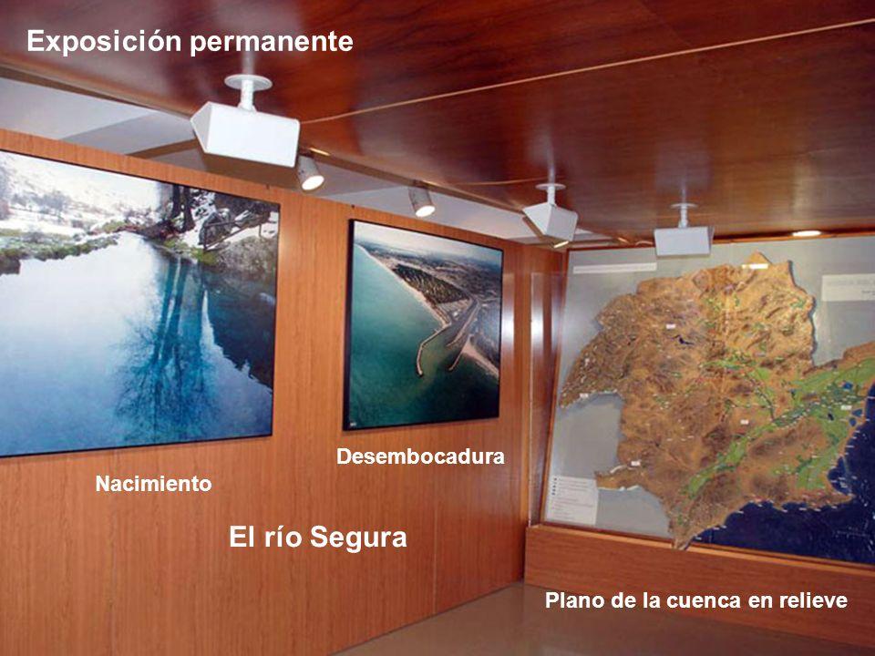 Exposición permanente Nacimiento Desembocadura El río Segura Plano de la cuenca en relieve