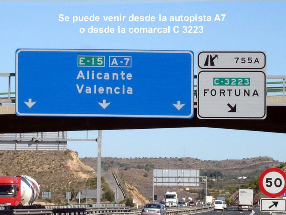 Se puede venir desde la autopista A7 o desde la comarcal C 3223