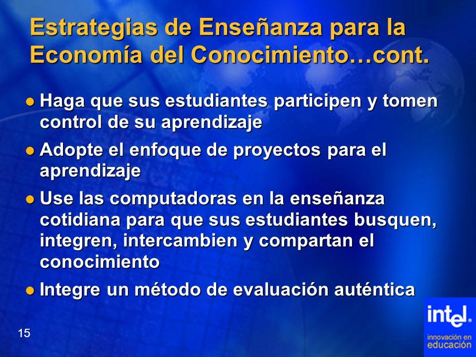 Estrategias de Enseñanza para la Economía del Conocimiento…cont. Haga que sus estudiantes participen y tomen control de su aprendizaje Haga que sus es