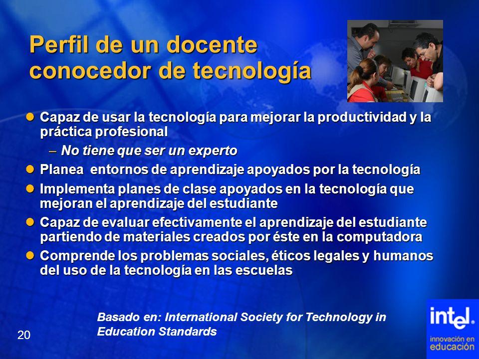 Basado en: International Society for Technology in Education Standards Perfil de un docente conocedor de tecnología Capaz de usar la tecnología para m
