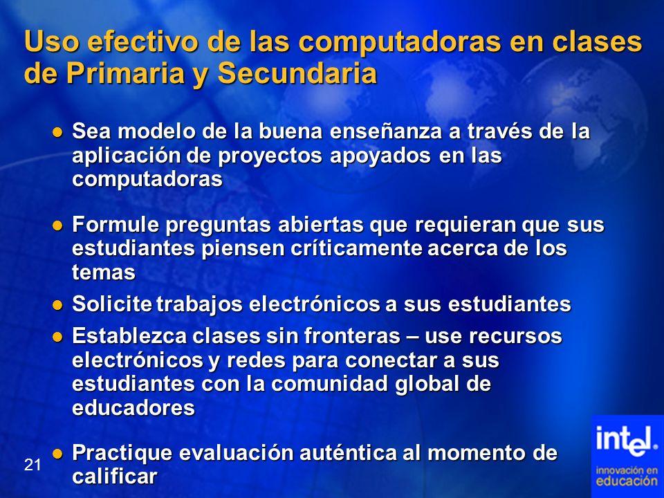 Uso efectivo de las computadoras en clases de Primaria y Secundaria Sea modelo de la buena enseñanza a través de la aplicación de proyectos apoyados e
