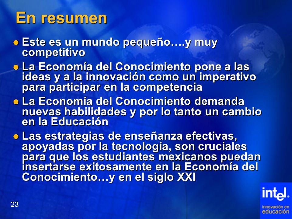 En resumen Este es un mundo pequeño….y muy competitivo Este es un mundo pequeño….y muy competitivo La Economía del Conocimiento pone a las ideas y a l