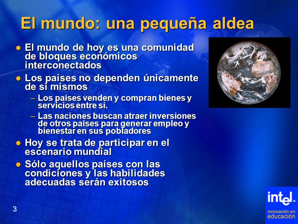 El mundo: una pequeña aldea El mundo de hoy es una comunidad de bloques económicos interconectados El mundo de hoy es una comunidad de bloques económi