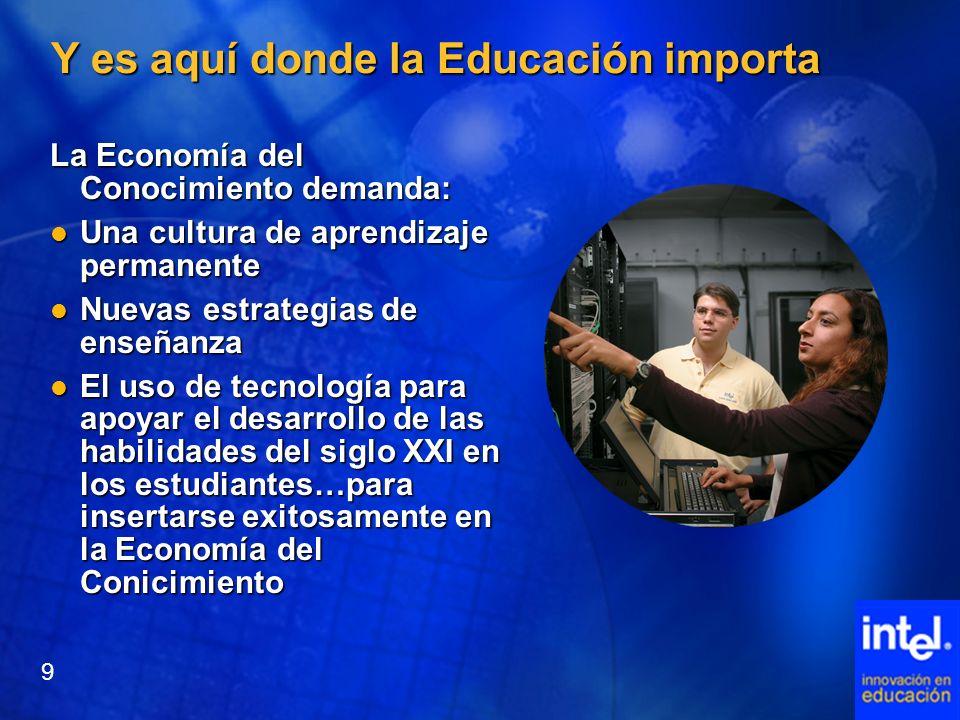 Y es aquí donde la Educación importa La Economía del Conocimiento demanda: Una cultura de aprendizaje permanente Una cultura de aprendizaje permanente