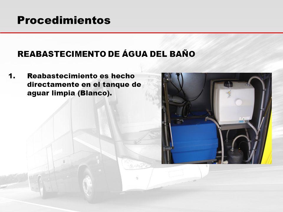 Procedimientos REABASTECIMENTO DE ÁGUA DEL BAÑO 1.Reabastecimiento es hecho directamente en el tanque de aguar limpia (Blanco).
