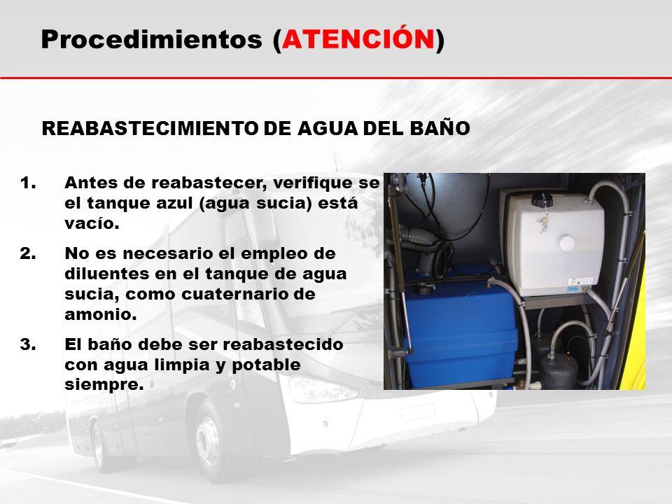 REABASTECIMIENTO DE AGUA DEL BAÑO 1.Antes de reabastecer, verifique se el tanque azul (agua sucia) está vacío.