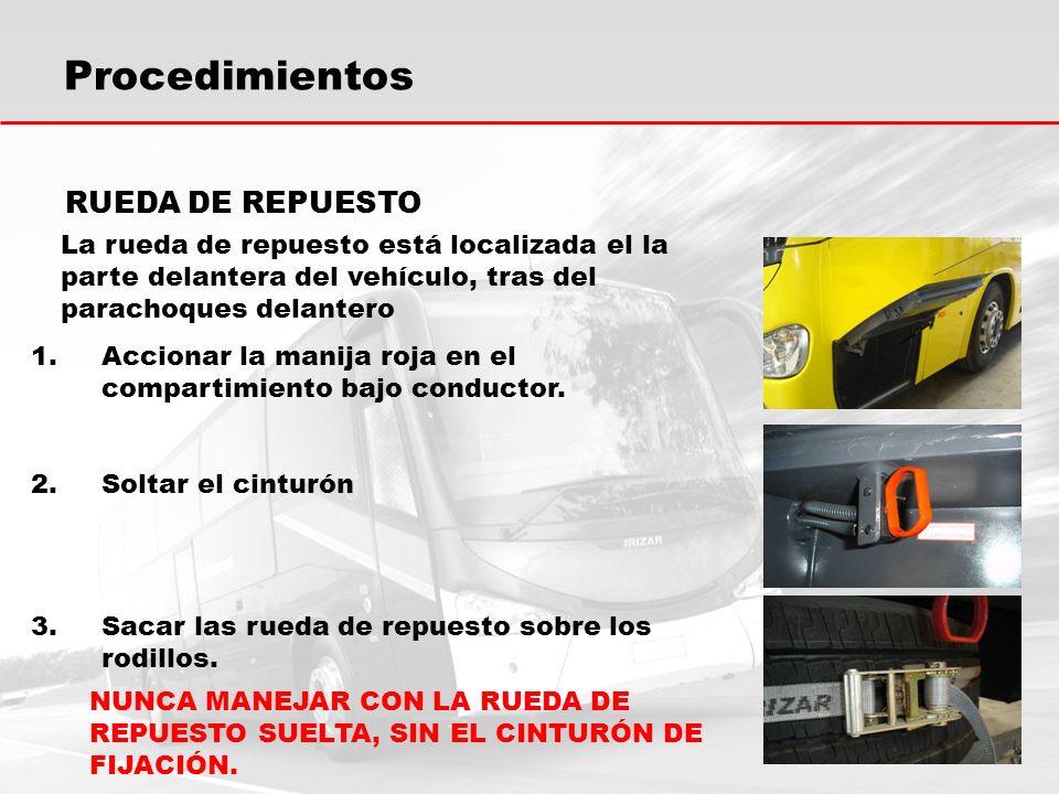 Procedimientos RUEDA DE REPUESTO 1.Accionar la manija roja en el compartimiento bajo conductor.