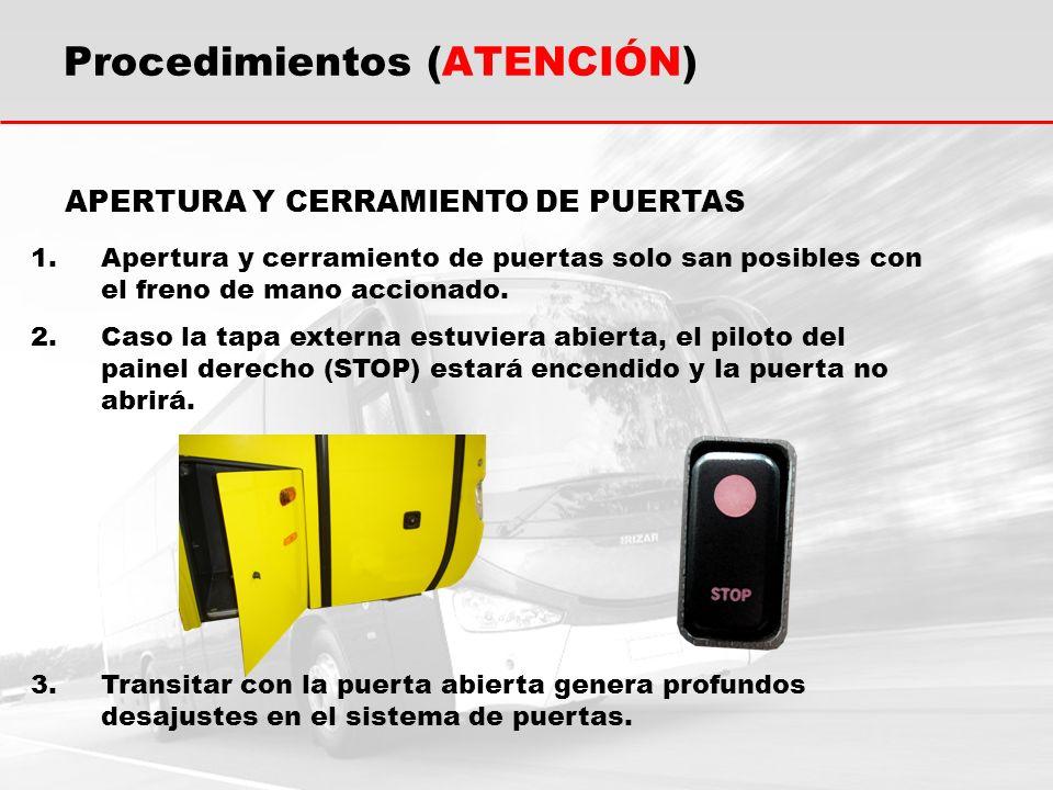 Procedimientos (ATENCIÓN) 1.Apertura y cerramiento de puertas solo san posibles con el freno de mano accionado.