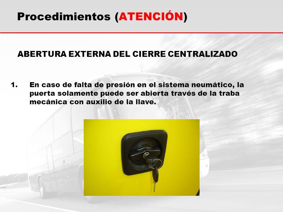 ABERTURA EXTERNA DEL CIERRE CENTRALIZADO 1.En caso de falta de presión en el sistema neumático, la puerta solamente puede ser abierta través de la tra