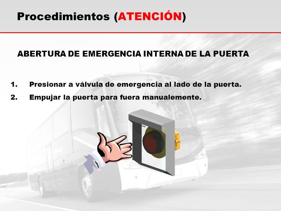 ABERTURA DE EMERGENCIA INTERNA DE LA PUERTA 1.Presionar a válvula de emergencia al lado de la puerta. 2.Empujar la puerta para fuera manualemente. Pro
