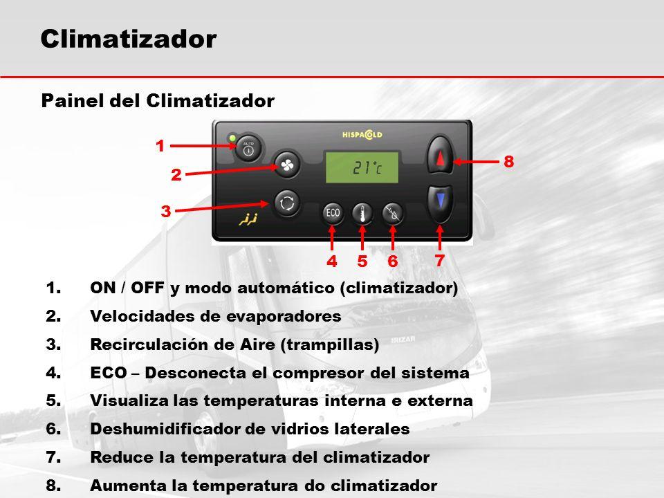 Climatizador Painel del Climatizador 1.ON / OFF y modo automático (climatizador) 2.Velocidades de evaporadores 3.Recirculación de Aire (trampillas) 4.ECO – Desconecta el compresor del sistema 5.Visualiza las temperaturas interna e externa 6.Deshumidificador de vidrios laterales 7.Reduce la temperatura del climatizador 8.Aumenta la temperatura do climatizador 1 2 3 456 7 8