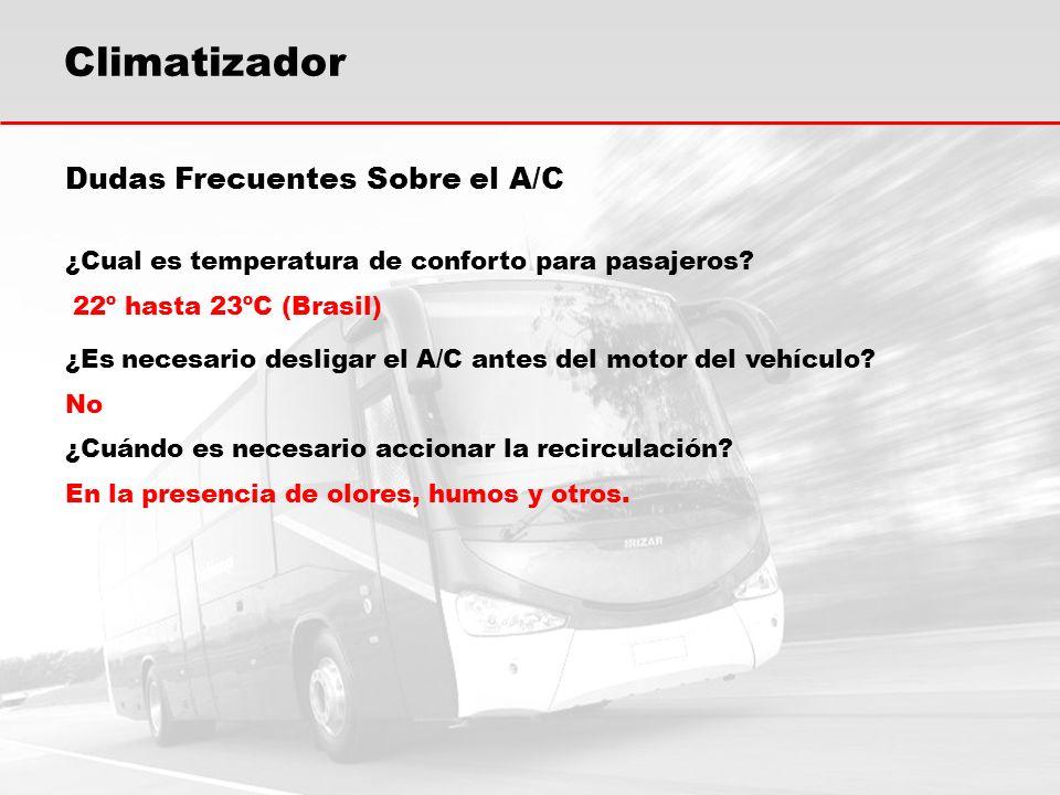 Dudas Frecuentes Sobre el A/C ¿Cual es temperatura de conforto para pasajeros? 22º hasta 23ºC (Brasil) ¿Es necesario desligar el A/C antes del motor d