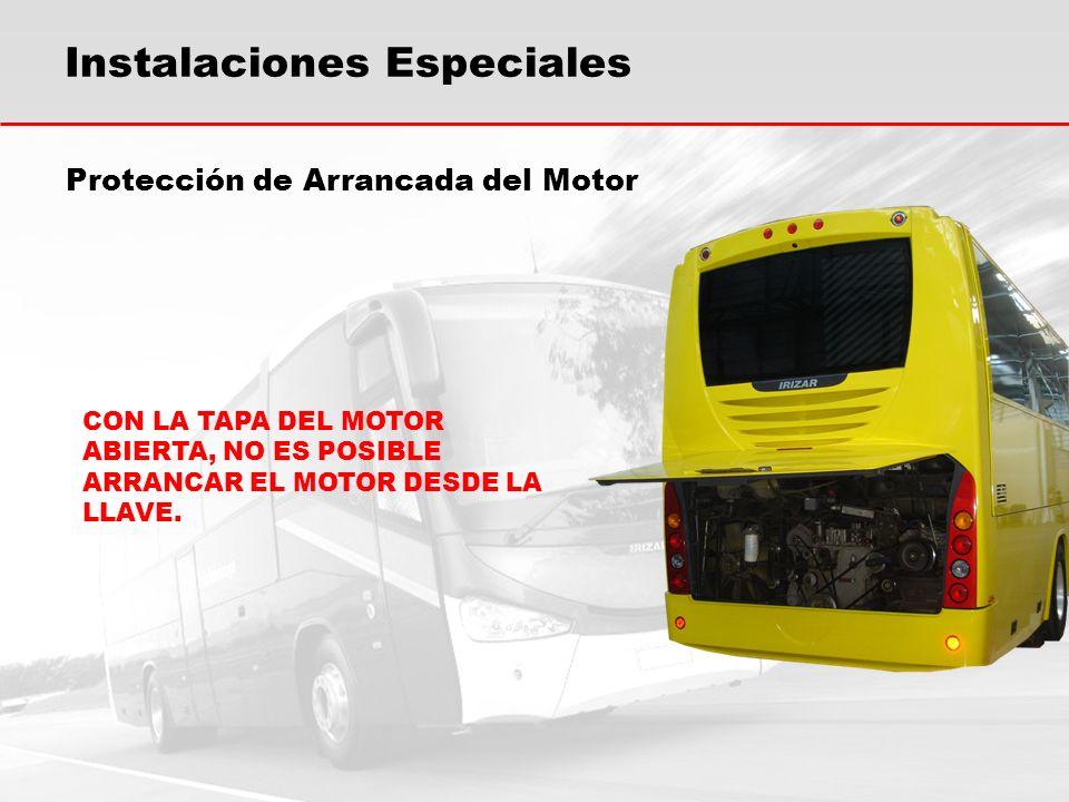 Protección de Arrancada del Motor CON LA TAPA DEL MOTOR ABIERTA, NO ES POSIBLE ARRANCAR EL MOTOR DESDE LA LLAVE.