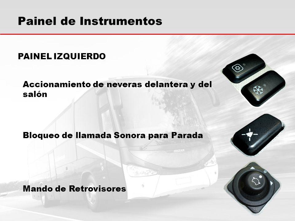Painel de Instrumentos Accionamiento de neveras delantera y del salón Bloqueo de llamada Sonora para Parada PAINEL IZQUIERDO Mando de Retrovisores
