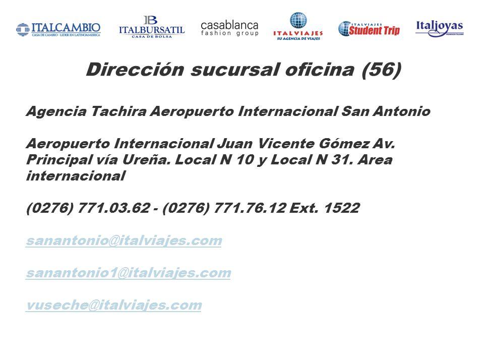 Dirección sucursal oficina (56) Agencia Tachira Aeropuerto Internacional San Antonio Aeropuerto Internacional Juan Vicente Gómez Av. Principal vía Ure