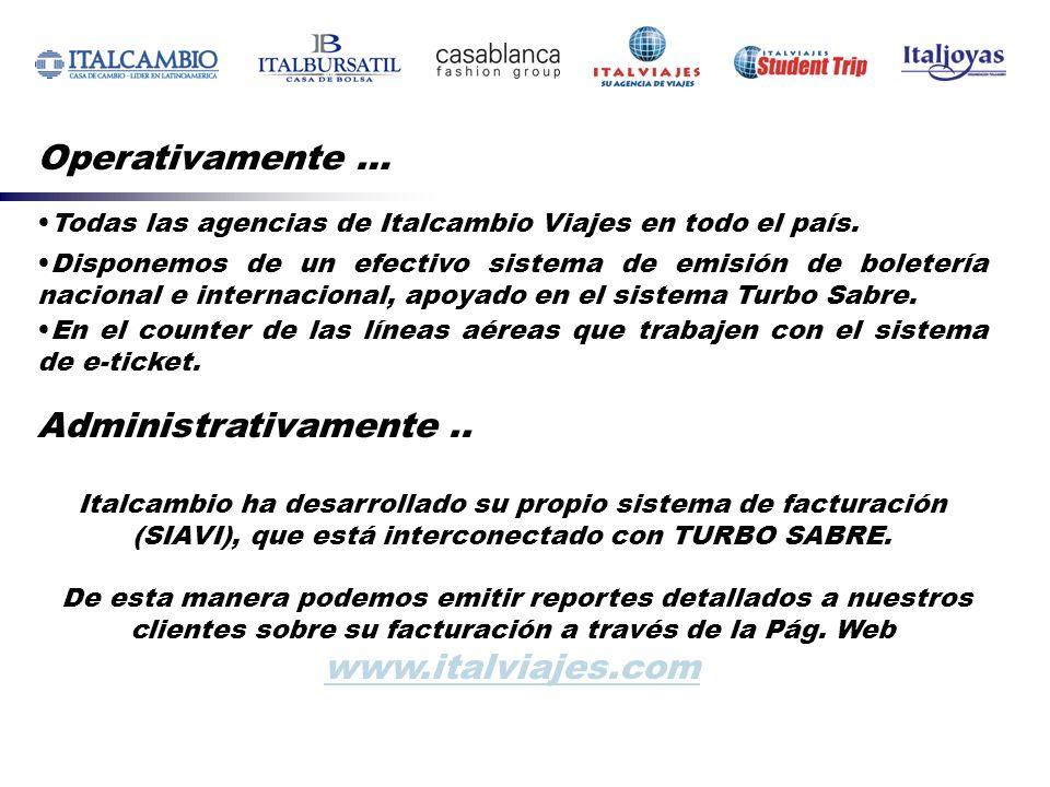 Operativamente … Todas las agencias de Italcambio Viajes en todo el país. Disponemos de un efectivo sistema de emisión de boletería nacional e interna