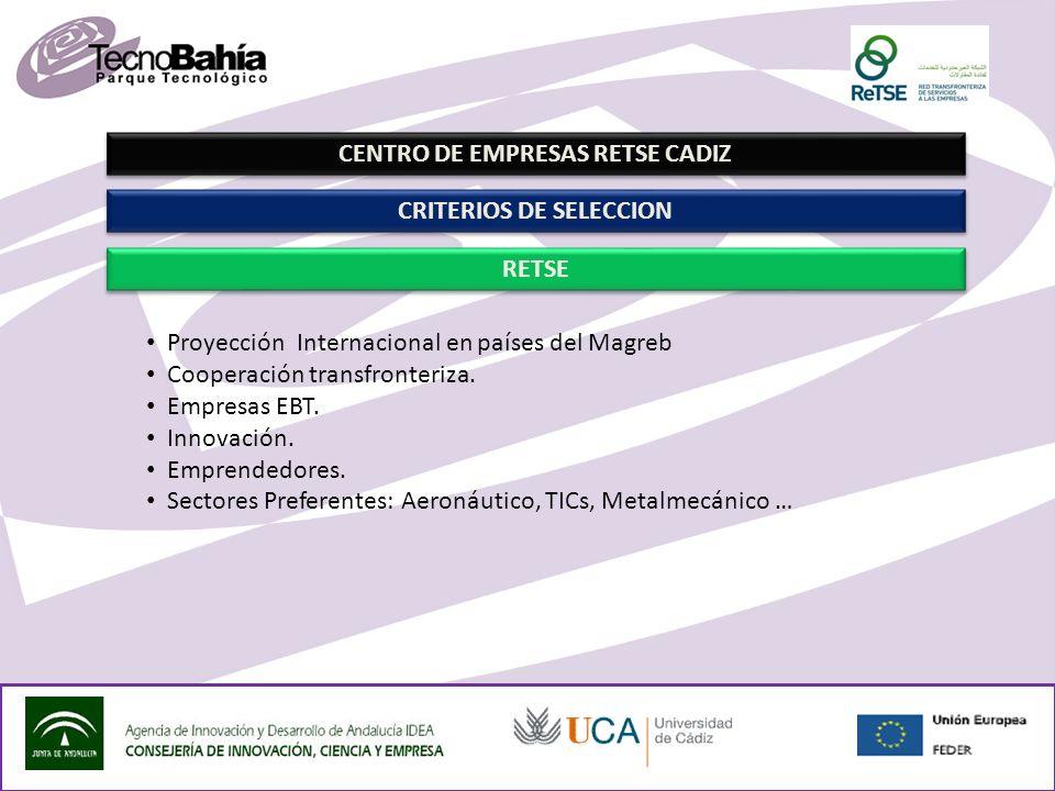 CENTRO DE EMPRESAS RETSE CADIZ RETSE CRITERIOS DE SELECCION Proyección Internacional en países del Magreb Cooperación transfronteriza.