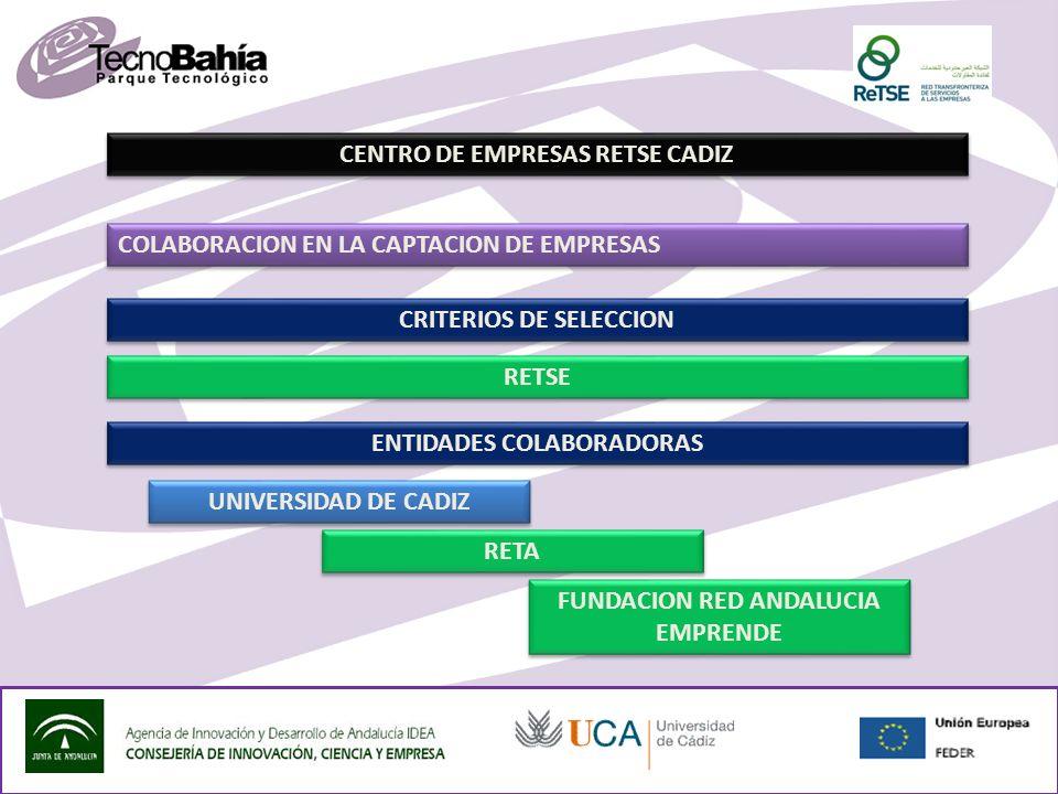 CENTRO DE EMPRESAS RETSE CADIZ COLABORACION EN LA CAPTACION DE EMPRESAS FUNDACION RED ANDALUCIA EMPRENDE UNIVERSIDAD DE CADIZ RETA RETSE CRITERIOS DE SELECCION ENTIDADES COLABORADORAS