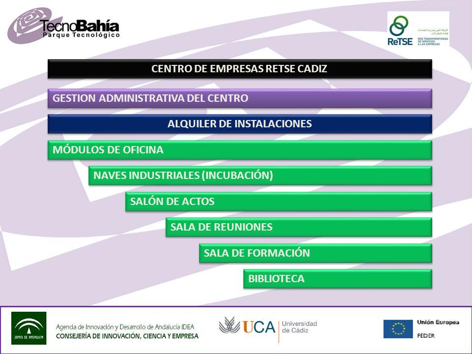 CENTRO DE EMPRESAS RETSE CADIZ GESTION ADMINISTRATIVA DEL CENTRO ALQUILER DE INSTALACIONES MÓDULOS DE OFICINA NAVES INDUSTRIALES (INCUBACIÓN) SALÓN DE ACTOS SALA DE REUNIONES SALA DE FORMACIÓN BIBLIOTECA