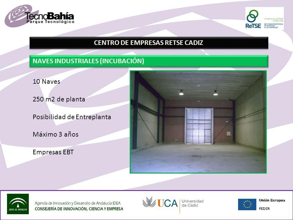 CENTRO DE EMPRESAS RETSE CADIZ NAVES INDUSTRIALES (INCUBACIÓN) 10 Naves 250 m2 de planta Posibilidad de Entreplanta Máximo 3 años Empresas EBT