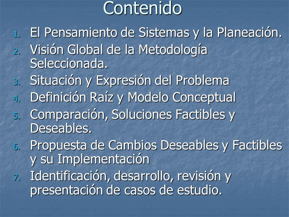 Contenido 1. El Pensamiento de Sistemas y la Planeación. 2. Visión Global de la Metodología Seleccionada. 3. Situación y Expresión del Problema 4. Def