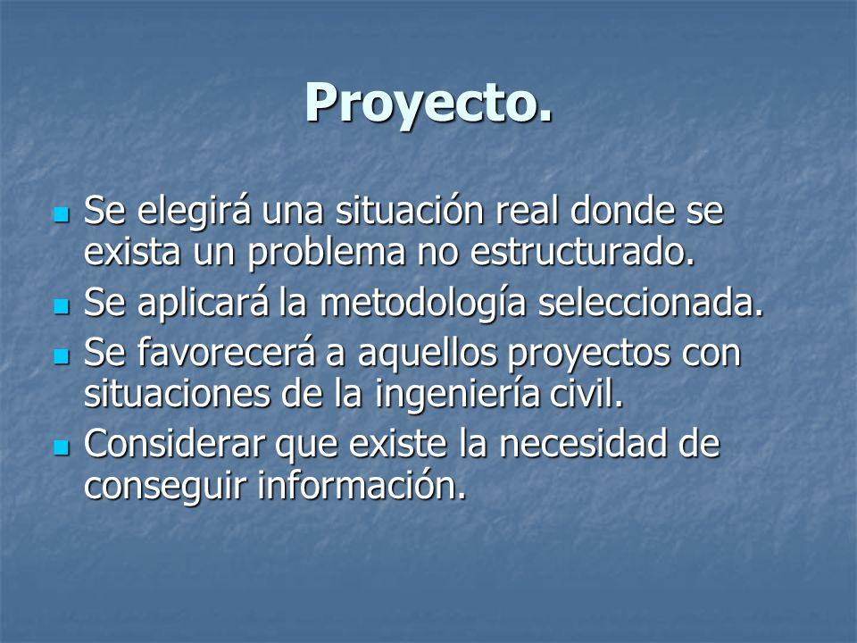 Proyecto. Se elegirá una situación real donde se exista un problema no estructurado. Se elegirá una situación real donde se exista un problema no estr