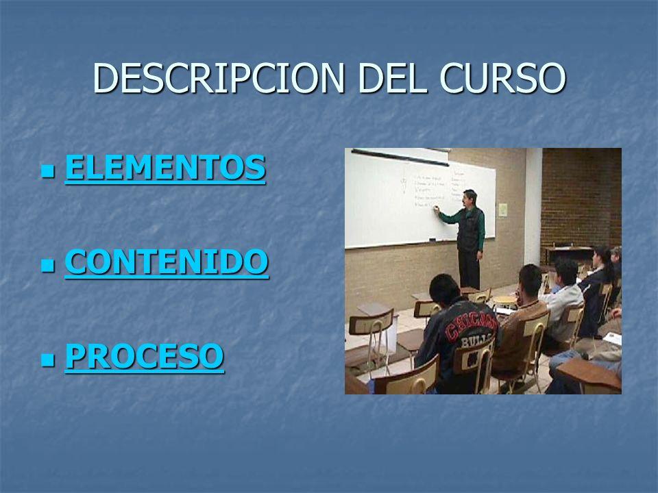 DESCRIPCION DEL CURSO ELEMENTOS ELEMENTOS ELEMENTOS CONTENIDO CONTENIDO CONTENIDO PROCESO PROCESO PROCESO