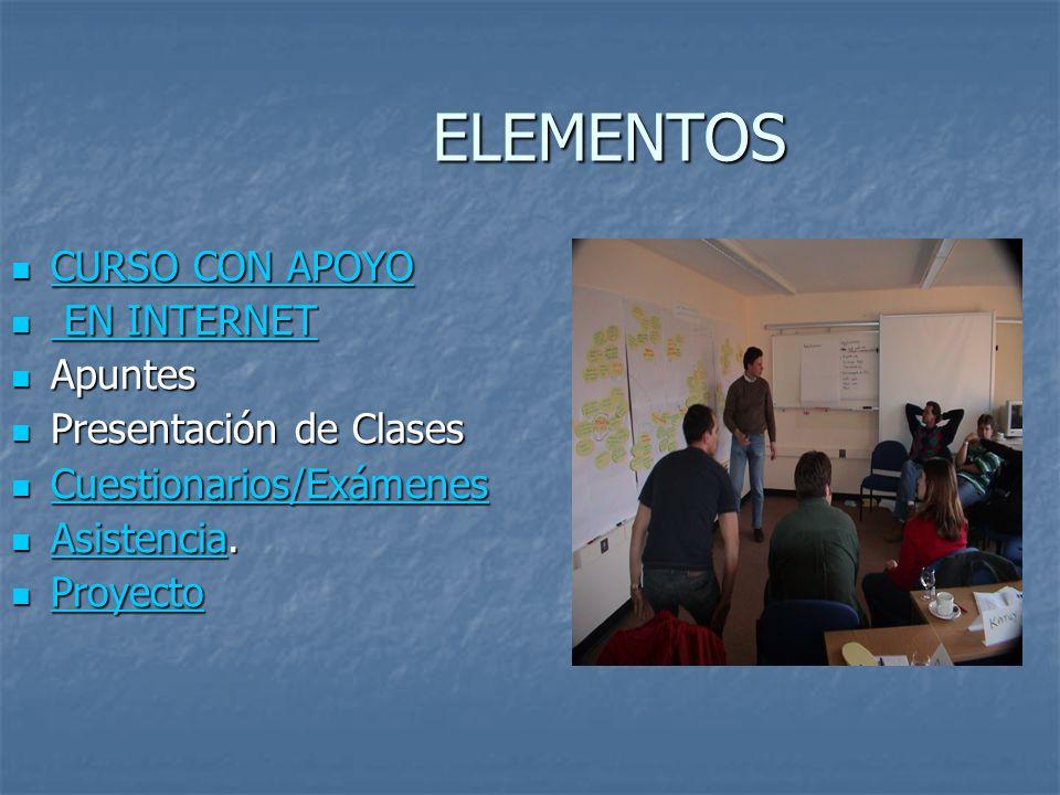 ELEMENTOS CURSO CON APOYO CURSO CON APOYO CURSO CON APOYO CURSO CON APOYO EN INTERNET EN INTERNET EN INTERNET EN INTERNET Apuntes Apuntes Presentación