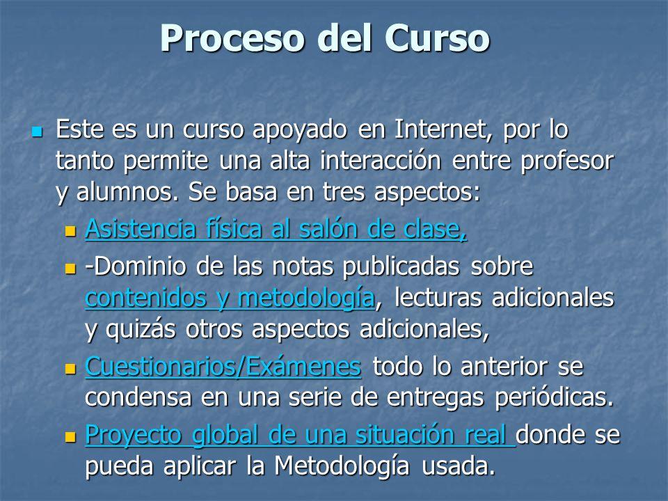 Proceso del Curso Este es un curso apoyado en Internet, por lo tanto permite una alta interacción entre profesor y alumnos. Se basa en tres aspectos: