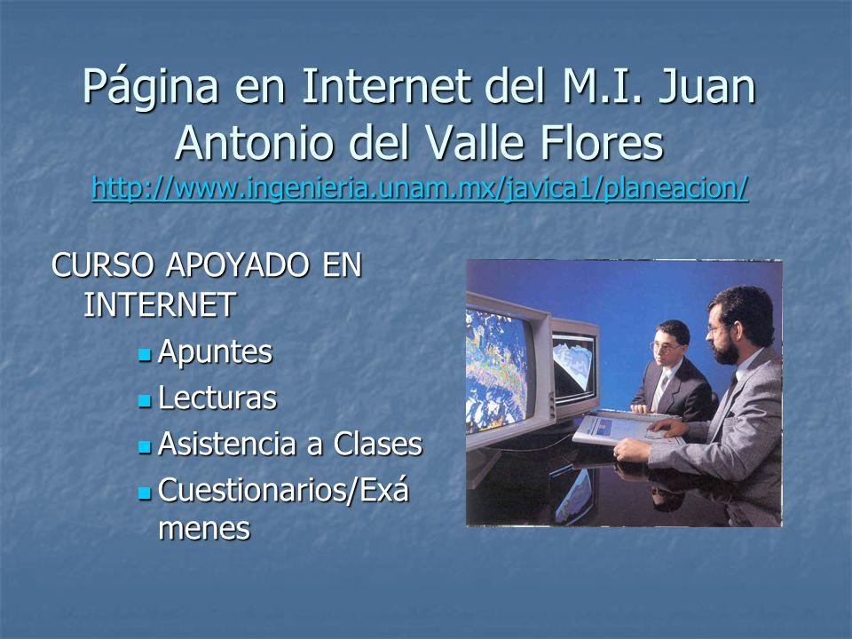 Página en Internet del M.I. Juan Antonio del Valle Flores http://www.ingenieria.unam.mx/javica1/planeacion/ http://www.ingenieria.unam.mx/javica1/plan