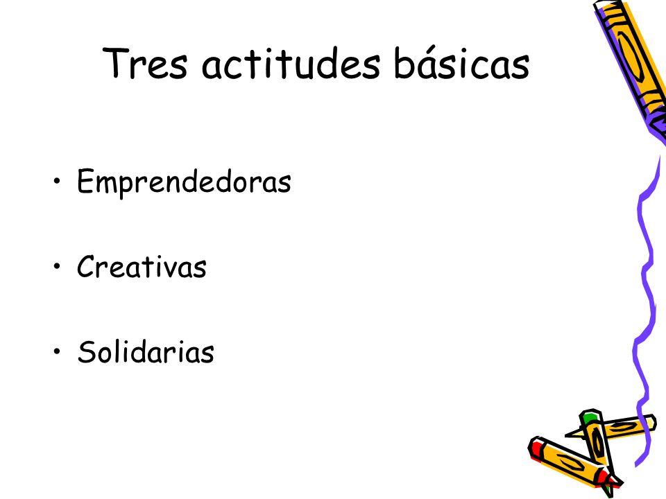 Tres actitudes básicas Emprendedoras Creativas Solidarias