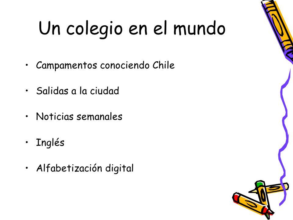 Un colegio en el mundo Campamentos conociendo Chile Salidas a la ciudad Noticias semanales Inglés Alfabetización digital