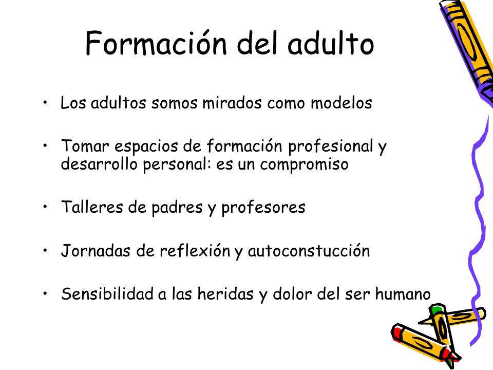 Formación del adulto Los adultos somos mirados como modelos Tomar espacios de formación profesional y desarrollo personal: es un compromiso Talleres d