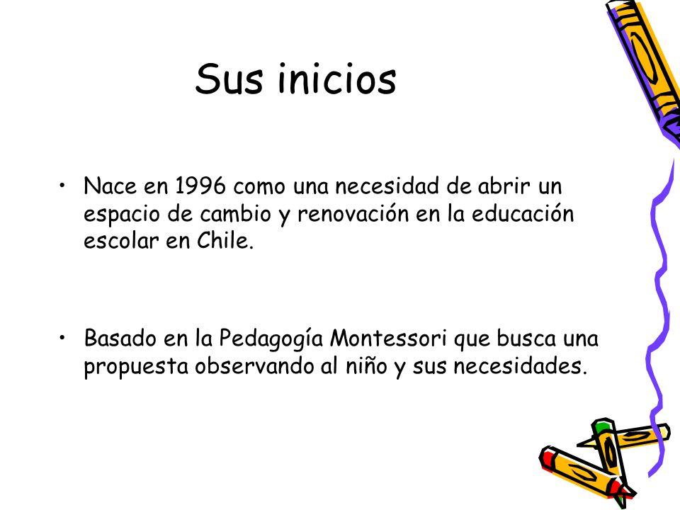 Sus inicios Nace en 1996 como una necesidad de abrir un espacio de cambio y renovación en la educación escolar en Chile. Basado en la Pedagogía Montes