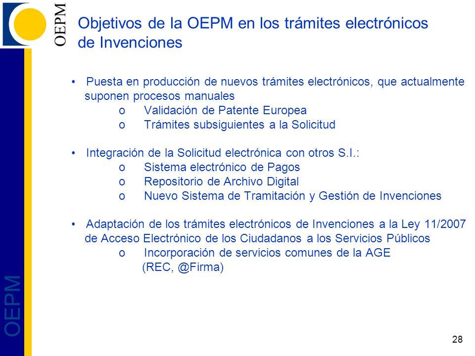 28 OEPM Objetivos de la OEPM en los trámites electrónicos de Invenciones Puesta en producción de nuevos trámites electrónicos, que actualmente suponen