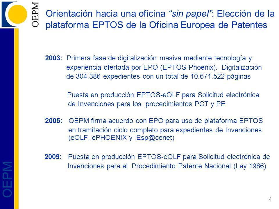 4 OEPM Orientación hacia una oficina sin papel: Elección de la plataforma EPTOS de la Oficina Europea de Patentes 2003: Primera fase de digitalización
