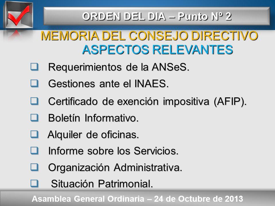 Here comes your footer ORDEN DEL DIA – Punto Nº 2 Asamblea General Ordinaria – 24 de Octubre de 2013 Consideración de: - Memoria del Consejo Directivo
