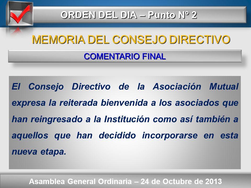 Here comes your footer ORDEN DEL DIA – Punto Nº 2 Asamblea General Ordinaria – 24 de Octubre de 2013 COMENTARIO FINAL Continuar con el propósito de lo