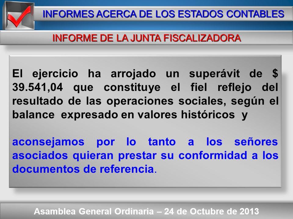Here comes your footer Asamblea General Ordinaria – 24 de Octubre de 2013 INFORMES ACERCA DE LOS ESTADOS CONTABLES DICTAMEN DEL AUDITOR a)Los Estados