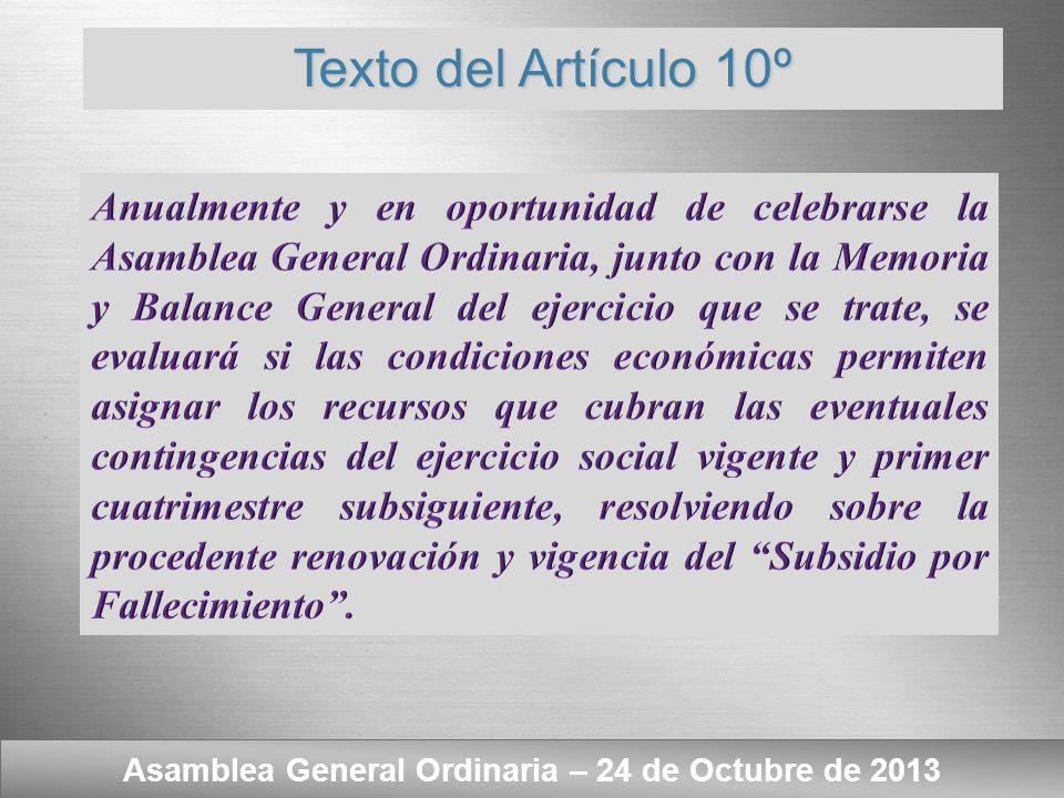 Asamblea General Ordinaria – 24 de Octubre de 2013 Subsidio por Fallecimiento. - Evaluación dispuesta por el Art. 10º del Reglamento.
