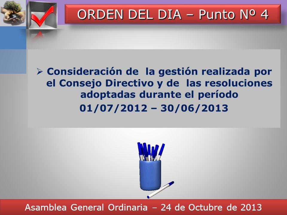 Here comes your footer CONCLUSIONES Asamblea General Ordinaria – 24 de Octubre de 2013 Resumen Final. Opinión del Consejo Directivo. Mantener los actu
