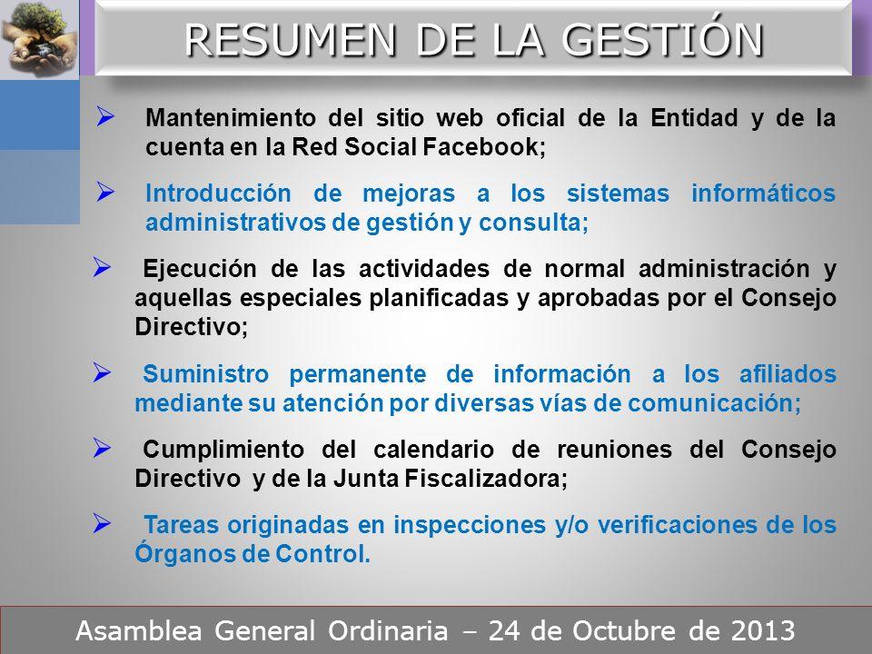 ORDEN DEL DIA – Punto Nº 4 Asamblea General Ordinaria – 24 de Octubre de 2013 Consideración de la gestión realizada por el Consejo Directivo y de las