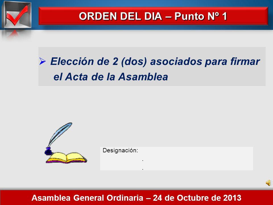 Here comes your footer 1. Elección de 2 (dos) asociados para firmar el Acta de la Asamblea. 2. Consideración del Inventario, Estados Contables y Notas