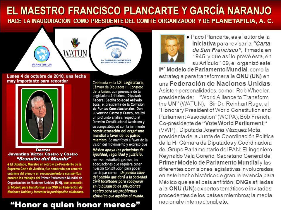 EL MAESTRO FRANCISCO PLANCARTE Y GARCÍA NARANJO HACE LA INAUGURACIÓN COMO PRESIDENTE DEL COMITÉ ORGANIZADOR Y DE PLANETAFILIA, A.